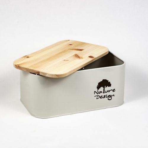 Brotbox Zirbe mit Deckel aus Zirbenholz halb geöffnet